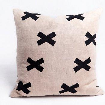 lniana poduszka beige cross
