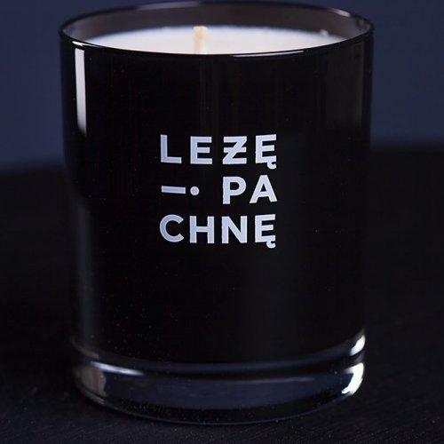 sojowa świeca szklana - czarna z białym napisem